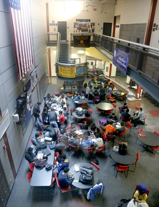 Students have lunch at Middlesex County Academy of Science, Math and Engineering Technologies on March 31, 2017. The school is located on the campus of Middlesex County College in Edison and admits some of the county's most academically gifted students. (Aristide Economopoulos | NJ Advance Media for NJ.com)