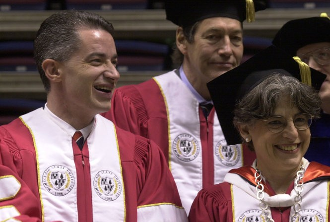Charlie Rose (center) sits on stage with Gov. James E. McGreevey and Montclair State University president Susan Cole during the 2002 commencement ceremony in East Rutherford. Rose and McGreevey received honorary degrees at the ceremony. (Star-Ledger file photo)