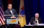 Gov Chris Christie speaks during a 90th birthday roast for Gov Brendan Byrne at NJPAC. Newark, April 1.