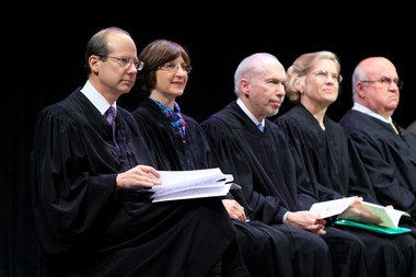The Supreme Court's five current justices could serve together for nearly another decade. From left, Chief Justice Stuart Rabner and Justices Jaynee LaVecchia, Barry Albin, Anne Patterson and Faustino Fernandez-Vina in Trenton.