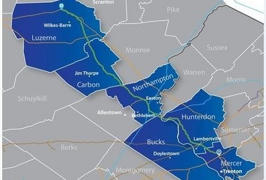 The proposed route for the newly announced PennEast natural gas pipeline is highlighted in green on this map.