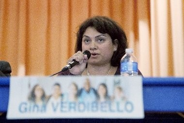 Jersey City Board of Education candidate Gina Verdibello during a 2014 candidate forum. Alyssa Ki   The Jersey Journal