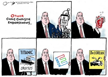 In Sacramento Bee's Jack Ohman's 'toon, Christie is a huckster who has a bad record of endorsing the wrong products. (Tribune Content Agency)