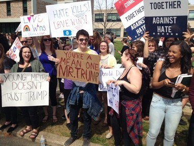Protesters at Donald Trump's appearance at West Chester University in Pennsylvania: With enemies like this, who needs friends?