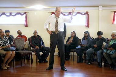 Former ambassador Phil Murphy speaks at his progressive political organization's meeting in Irvington at the D'lorice Banquet Hall. Tuesday April 19, 2016.