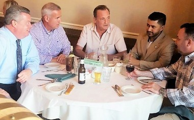 """Gathering around a table last Sunday at Renato's on Central Avenue in Jersey City are Lt. Robert Kearns, left, president of the Jersey City Police Superior Officers Association, Police Lt. Jimmy Carroll, hopeful city candidate, political consultant Tom Bertoli, often associated with Mayor Steve Fulop, Assemblyman and likely mayoral hopeful Raj Mukherji and city Democratic Organization Chairman Shawn E. """"Sully"""" Thomas-Sullivan. They are either discussing the best pizza they ever had or comparing their scars in a re-enactment of the """"Indianapolis"""" scene in the movie """"Jaws."""" There was no slice for Freeholder Bill O'Dea."""