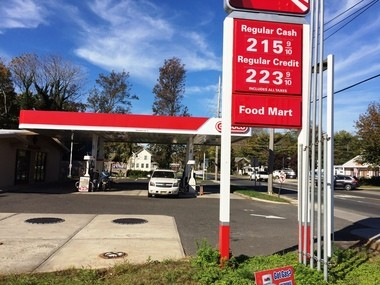 OH, THE HUMANITY! Here's a photo of the gas station I discussed in this column. Note that they only jacked the price 22 cents, not 23. Competition is brutal in the world of gas. In any event, $2.15 a gallon is not much to pay for gas - and road maintenance.