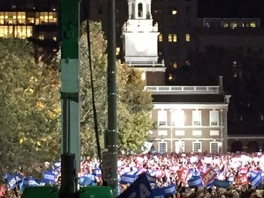 The crowd framed against Independence Hall - where the founders didn't always get along, as Hillary helpfully told us.