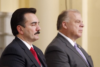 State Assembly Speaker Vincent Prieto (left) and state Senate President Stephen Sweeney (right) are shown in a file photo.
