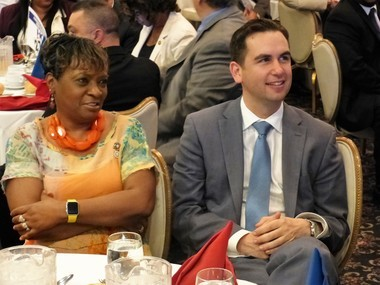 Jersey City Councilwoman Joyce Watterman, left, sits with Mayor Steve Fulop at a June 2016 Hudson County Democratic Organization dinner at Casino in the Park. She is the only incumbent councilwoman seeking re-election.