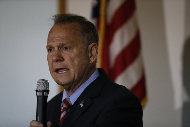 Former Alabama Chief Justice and U.S. Senate candidate Roy Moore speaks at a campaign rally on Monday in Henagar, Ala. (Brynn Anderson   Associated Press)