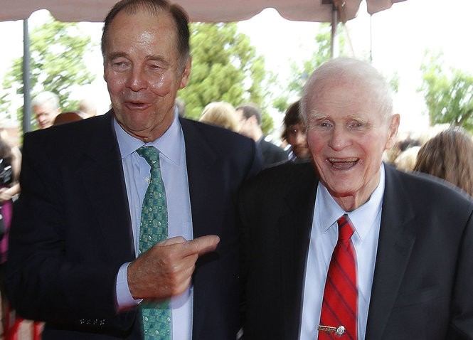 Former Govs. Tom Kean and Brendan Byrne arriving at the New Jersey Hall of Fame Induction Ceremony and red carpet at the NJPAC in 2011. (William Perlman | The Star-Ledger)
