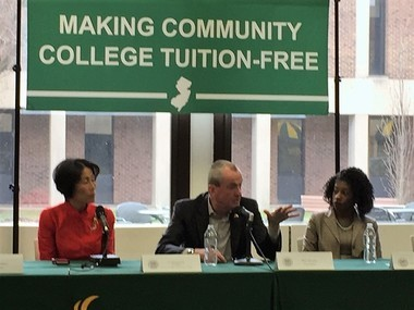 "Governor Phil Murphy at Mercer College Thursday: He gave no plan on how to pay for ""free"" county college."