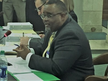 Acting Education Commissioner Lamont Repollet testifies at a Senate Budget Committee hearing Tuesday.