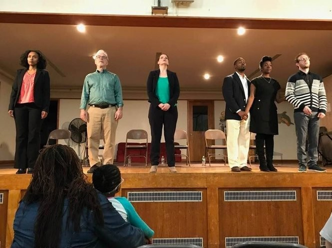 """A rehearsal of the the documentary play, """"Life, Death, Life Again: Children Sentenced to Die In Prison,"""" which delves into the lives of imprisoned children looking for a second chance. The play will be performed on May 17 at Passage Theatre at the Mill Hill Playhouse in Trenton. (Photo by coLAB Arts)"""