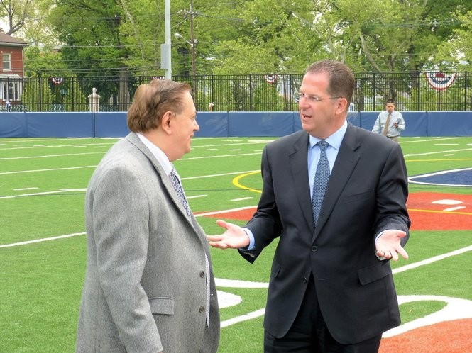 North Bergen Mayor Nick Sacco, left, and Union City Mayor Brian Stack, both state senators, talk on an athletic field in Washington County Park on the border of Union City and Jersey City prior to both endorsing county Executive Tom DeGise on May 21, 2013. It was also a phony public display of Democratic Party unity.