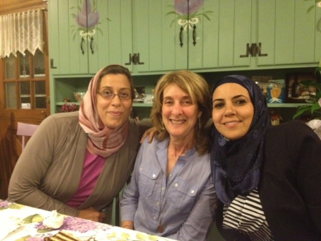 Sisterhood of Saalam Shalom members Heba Macksoud, right, Sheryl Olitzky, center, right, Amaney Jamal in South Brunswick. (Courtesy Heba Macksoud)