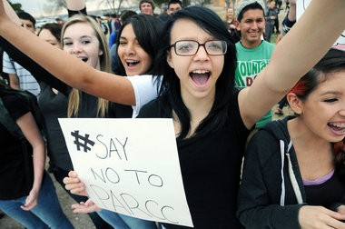 Students in New Mexico protesting the new PARCC exams that were being administered earlier this month at all Las Cruces Public Schools. (AP Photo file photo)
