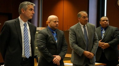 Pictured left to right, Sean Courter's attorney, Charles Clark; Courter; Orlando Trinidad's attorney, Frank Arleo; and Trinidad appear during closing statements on Wednesday, Oct. 28, at Courter's and Trinidad's trial on official misconduct and related charges in connection with a 2012 arrest on the Garden State Parkway. (Bill Wichert | NJ Advance Media for NJ.com)