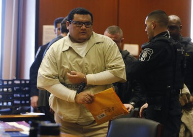 Rodolfo Godinez, 32, formerly of Newark, appeared before Superior Court Judge Michael L. Ravin for a hearing on his petition for post-conviction relief in the Newark schoolyard killings case. Godinez was the first of six defendants to be convicted for their roles in the Aug. 4, 2007 execution-style slayings of Terrance Aeriel, Iofemi Hightower and Dashon Harvey. Terrance's sister, Natasha Aeriel, was also shot in the head, but survived. Godinez was convicted at a 2010 trial and later sentenced to 245 years in state prison. Through his petition, Godinez is looking to overturn his conviction by claiming he received ineffective assistance from his trial attorney. Hearing was at the Essex County Courthouse in Newark 1/4/16 (Ed Murray | NJ Advance Media for NJ.com)