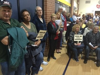 A standing room only crowd packed the Memorial Middle School in Eatontown on April 27, 2016 to hear the Borough Council vote on an ordinance that would have allowed for the Kushner Companies planned $500 million makeover of Monmouth Mall. (Rob Spahr | NJ Advance Media for NJ.com)