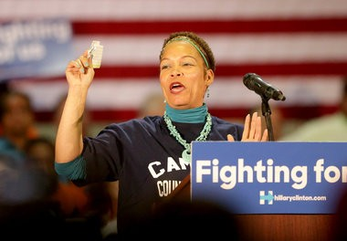 Camden County College student Patricia Wilson introduces Hillary Clinton to supporters inside the Joseph Papiano Gymnasium at Camden County College, Wednesday, May 11, 2016. Clinton is campaigning for the Democratic presidential nomination. (Tim Hawk | For NJ.com)