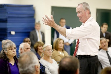 Phil Murphy hosts a town hall in Paramus last month.