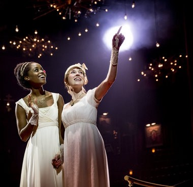 "Of the excellent supporting cast, Brittain Ashford (right) is the standout as Sonya, the best friend of Natasha (Denee Benton), in ""Natasha, Pierre & the Great Comet of 1812"" (Photo by Chad Batka)"