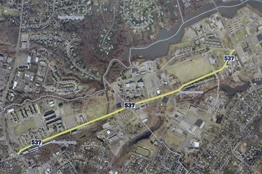 Monmouth County officials and representatives from the Fort Monmouth Economic Revitalization Authority helped celebrate the reopening of County Route 537 through the former military base on Jan. 17, 2017. (Rob Spahr | NJ Advance Media for NJ.com)