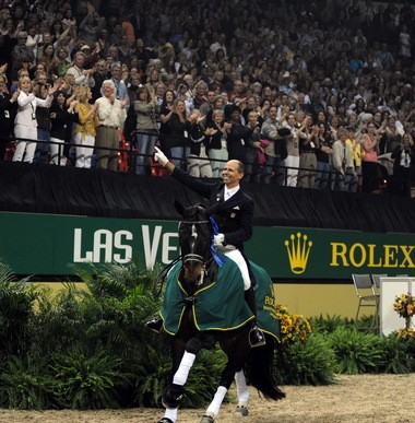 """The sold-out house that saluted Steffen Peters in 2009, when he won the last World Cup finals hosted by the U.S., likely would be replicated if Vegas is awarded the 2015 edition of the championship. See """"On the Rail"""" for more information"""