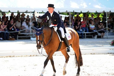 Jan Ebeling and Rafalca leaving the ring at the Dressage Festival of Champions in Gladstone last month, in what turned out to be the mare's final competition