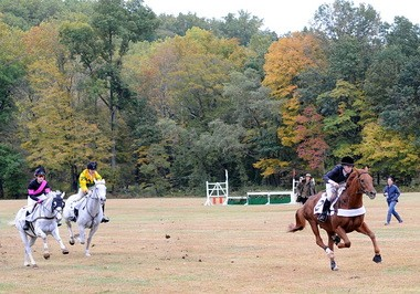 Grier Filley on her way to winning the Foxhunter Flat Race aboard Jeb's Crowner during the Essex Fox Hounds Masters' Chase at Natirar in Peapack.