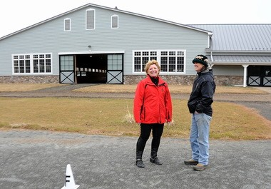 Linda Dietz, owner of Red Tail Farm in Bedminster and manager/trainer Meredith Whaley in the dressage ring where they will be holding shows this summer.