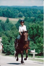 Jean Haller on her 86th birthday riding trip in Vermont.