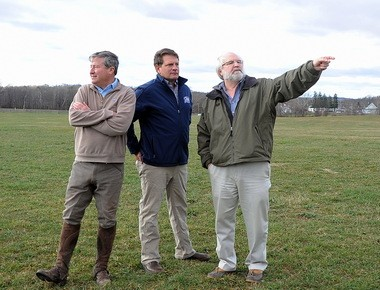 Essex Horse Trials at Moorland Farms organizers Ralph Jones, Morgan Rowsell and Guy Torsillieri look over the site that will become the cross-country course.