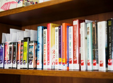 Books on the shelves at the Kearny Public Library in this file photo.