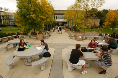 Students relax outside the County College of Morris library in this file photo.