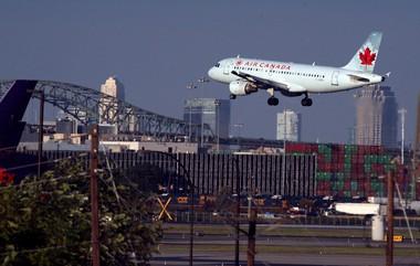 An Air Canada Airbus A319 aircraft lands. File Art of planes landing at Newark Liberty International Airport.
