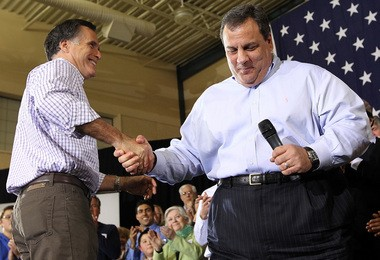 Republican presidential candidate former Massachusetts Gov. Mitt Romney, left, shakes hands with New Jersey Gov. Chris Christie during a rally at Exeter High School on January 8, 2012 in Exeter, New Hampshire. Christie will speak next month at a political conference in Utah, hosted by Romney.