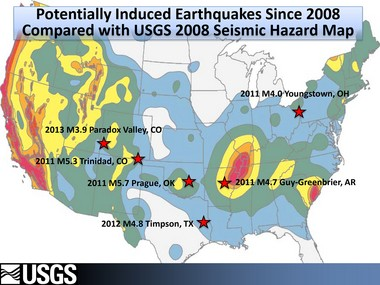 The stars on the map above show the location of earthquakes believed to have been triggered by oil and gas wastewater injection or other human activity since 2008.