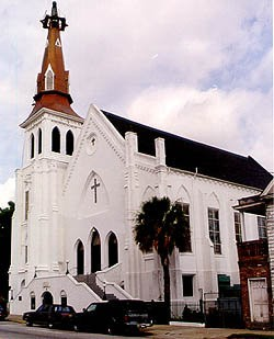 Emmanuel African Methodist Episcopal Church, Charleston, South Carolina, where nine of its parishioners were murdered less than three weeks ago.