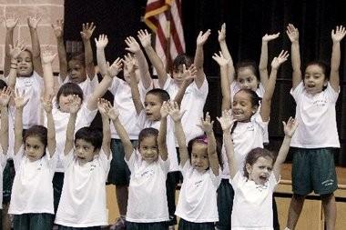 Kindergarteners at Robert Treat Academy in Newark.