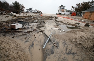 The ocean breached the dunes in Mantoloking during last week's storm. Rather than extending the sea wall, Mantoloking's mayor says Bay Head officials should focus on trying to secure the easements now for the replenishment so the two towns could have one continuous dune.