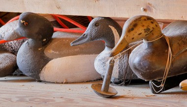 Some old duck decoys under a bench in the shop at the Tuckerton Seaport. This weekend is the 31st annual Ocean County Decoy & Gunning show at Tip Seaman County Park.