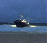 The Captain Gavin, a 77-foot-fishing boat that ran aground this morning in Point Pleasant Beach.