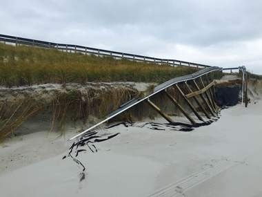 In Harvey Cedars, the dune fence was destroyed in certain areas of the beach. (Photo courtesy of Harvey Cedars Police Department).