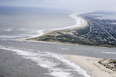 Aerial view of Barnegat Inlet in October 2015, a year after work crews found a shipwreck under the damaged northern jetty of the inlet. (Andrew Mills | NJ Advance Media for NJ.com)