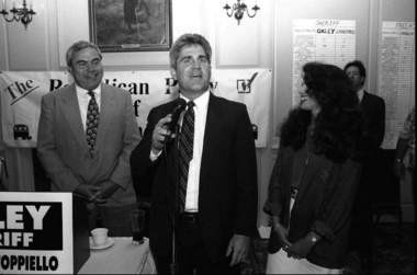 Joseph Oxley celebrates his victory in the race for Monmouth County sheriff in 1995.