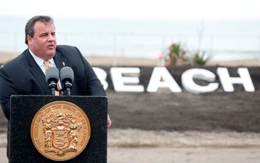 Gov. Chris Christie speaks during an appearance at the Bradley Beach oceanfront on Monday.