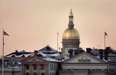 A view of the Statehouse dome in winter.